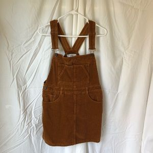 Boho Corduroy Brown Overall Dress